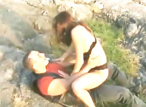 Red Head,Vintage,Classic,Retro,Big Ass,Outdoor,Blowjob,Cum In Mouth,Cumshot,Mature,lake,Outdoor A outdoor fuck...