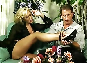Blondes;Big Boobs;Vintage;Foot Fetish;High Heels;Blonde Fucks Stud with foot...