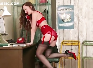 Brunette,Vintage,Classic,Retro,Lingerie,Big Tits,Stockings,Big Ass,British,Dark Hair,High Heels,Lingerie,Nylon,Phone,Retro,Secretary Brunette...
